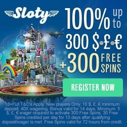 Sloty Casino welcome offer