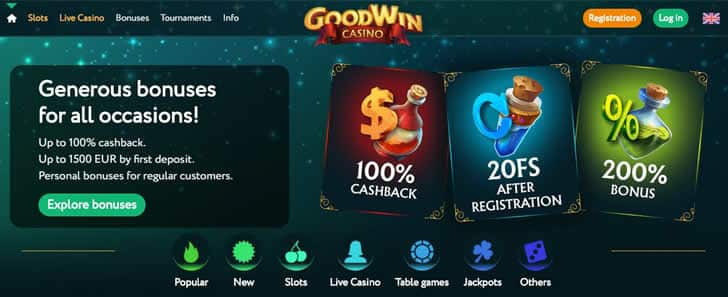 Goodwin casino homepage